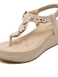 Women's Sandals Spring / Summer / Fall Platform Party & Evening / Dress / Casual Wedge Heel Applique / Slip-on Black / Almond Walking