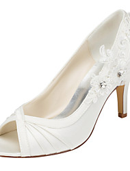 Women's Heels Spring / Fall  Stretch Satin Wedding / Party & Evening / Dress Stiletto Heel Crystal Ivory