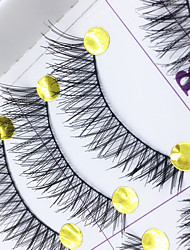 Eyelashes Full Strip Lashes Crisscross / The End Is Longer Handmade Fiber Black Band 0.10mm 11mm