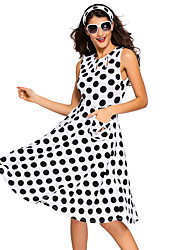 Women's Polka Dot Bohemain Print Dress with Keyholes