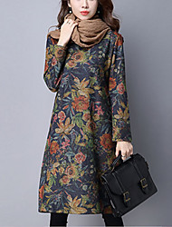 Women's Casual/Daily Street chic Loose DressFloral / Print Knee-length Long Sleeve Blue / Gray Cotton Fall Mid Rise