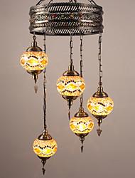 BOXIMIYA Restaurant Ideas To Restore Ancient Ways Wrought Iron Mediterranean Country Art Glass Droplight Sitting Room