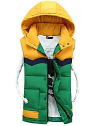 Masculino Longo Casaco Capa,Simples Color Block Casual-Outros Sem Enchimento Manga Longa Vermelho / Verde / Amarelo