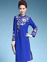 AINIER Women's Casual/Daily Chinoiserie Tunic DressEmbroidered Stand Knee-length Long Sleeve Blue Cotton / Polyester Fall Mid Rise Inelastic