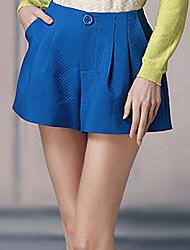 Pantalon Aux femmes Short simple Polyester Non Elastique