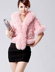 Women's Casual/Daily Simple Fur Coat,Solid Long Sleeve Winter Pink / Red / White / Black Faux Fur