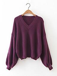 Damen Standard Pullover-Lässig/Alltäglich Einfach Solide Rot / Schwarz / Grau / Lila V-Ausschnitt Langarm Kaschmir / PolyesterHerbst /