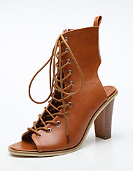 Women's Heels Spring/Summer/Fall Quality Material Gladiator Lace-up Side Zipper Slingback Peep Toe Chunky Sandals