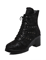 Women's Round Closed Toe High Heels Mid Top Solid Boots with Metal Nail