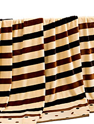 Bedtoppings Blanket Flannel Coral Fleece Fake Mink Queen Size 200x230cm Stripe Prints Thicker