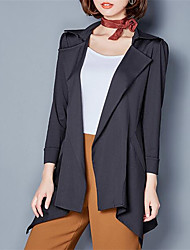 Women's Casual/Daily / Sports Street chic Trench Coat,Solid Notch Lapel Long Sleeve Fall / Winter Red / Black Polyester