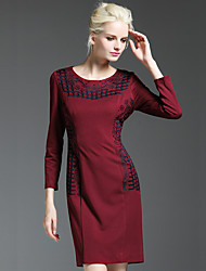 GATHER BEAUTY Women's Going out Vintage Sheath DressEmbroidered Round Neck Above Knee Long Sleeve Blue / Red Rayon / Polyester / Nylon / Spandex Fall