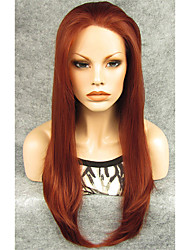 "IMSTYLE 24""Light Wine Red Synthetic Silky Straight Lace Front Wigs-N2"