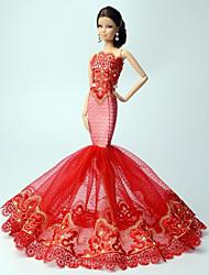 Princesa Vestidos Para Barbie Doll Vermelho Rendas Vestidos Para Menina de boneca Toy