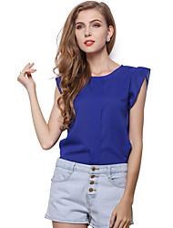 Damen Solide Einfach Lässig/Alltäglich T-shirt,Rundhalsausschnitt Sommer Kurzarm Blau / Rot / Grün Polyester Mittel