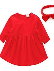 малыш Набор одежды-На каждый день,Однотонный,Хлопок,Весна / Осень-Красный / Желтый
