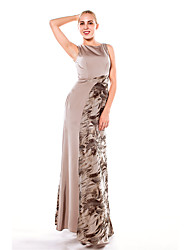 Formal Evening Dress A-line Scoop Floor-length Organza / Satin with Split Front
