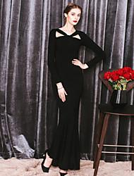 MASKED QUEEN Women's Formal Simple Trumpet/Mermaid DressSolid V Neck Maxi Long Sleeve Black Modal