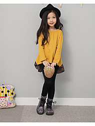 Girl's Casual/Daily Solid TeeCotton Spring / Fall Red / Yellow
