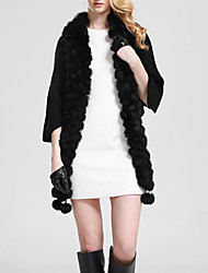 Women's Casual/Daily Simple Fur Coat,Solid Round Neck ½ Length Sleeve Fall / Winter Black Rabbit Fur / Faux Fur