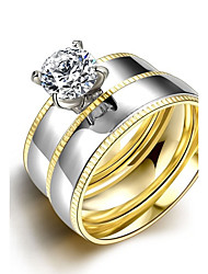 Double Ring Two Finger Anillos De Acero Inoxidable Women Stainless Steel Rings Cz Diamond Mosaic Gold Plated Jewelry