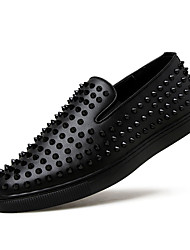 Men's Loafers & Slip-Ons Spring Fall Comfort PU Casual Flat Heel Lace-up Black Red Blue