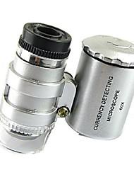 mini-60x microscope bijoux conduit loupe uv monnayeur loupe portable loupe oculaire de verre avec de la lumière dirigée