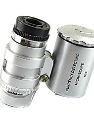 mini-60x microscópio jóias LED lupa uv detector moeda Lupa portátil lente de aumento olho de vidro com luz LED