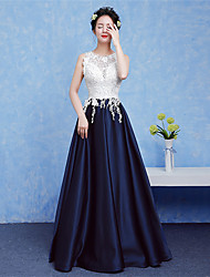 Formal Evening Dress A-line V-neck Floor-length Lace with Beading