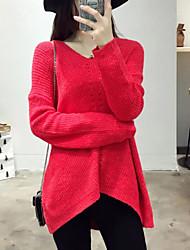 Damen Standard Pullover-Ausgehen Lässig/Alltäglich Einfach Solide Rot Grau V-Ausschnitt Langarm Kaschmir Herbst Winter Mittel