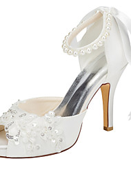 Women's Heels Spring / Summer Platform Stretch Satin Wedding / Party & Evening / Dress Stiletto Heel Crystal / Pearl Ivory / White Others