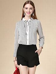 Women's Casual/Daily Simple Fall Shirt,Striped Shirt Collar Long Sleeve White Cotton Thin