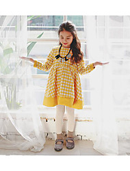 Girl's Casual/Daily Check DressPolyester Fall Yellow