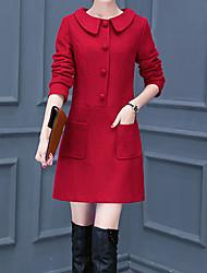 Feminino Evasê Vestido,Happy-Hour / Tamanhos Grandes Simples Sólido Colarinho de Camisa Acima do Joelho Manga LongaAzul / Vermelho /