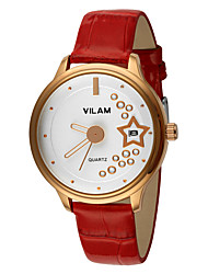 VILAM® Women's Wrist watch Quartz Water Resistant/Water Proof Calendar Leather Band Sparkle White Dress Watch