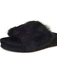 Women's Flats Winter Platform Fur Casual Flat Heel Platform Black Brown Green Gray Walking