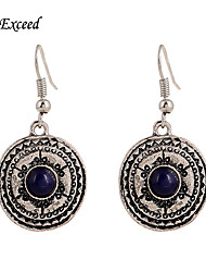 Hot Selling Anti Silver With Blue Stone Round Flower Enamel Alloy Hook Drop Earring ER154472