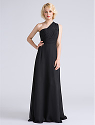Lanting Bride® Floor-length Chiffon Bridesmaid Dress - Sheath / Column One Shoulder Plus Size / Petite with Side Draping / Ruching