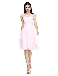 LAN TING BRIDE Knee-length Jewel Bridesmaid Dress - Open Back Elegant Sleeveless Chiffon Lace