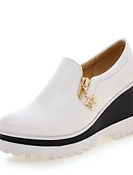 Damen-Loafers & Slip-Ons-Kleid-Kunstleder-Keilabsatz-Komfort-Schwarz Rosa Weiß