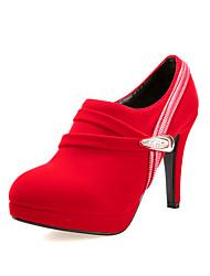 Feminino-Saltos-Sapatos com Bolsa Combinando-Salto Agulha-Preto / Vermelho-Courino-Casual / Festas & Noite