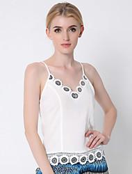 Damen Solide Einfach Lässig/Alltäglich / Ausgehen Tank Tops,Gurt Sommer Ärmellos Weiß Baumwolle / Polyester Dünn