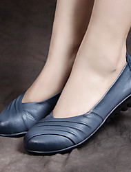 Women's Flats Spring Comfort Leather Casual Flat Heel Ruffles Black Blue Burgundy Others