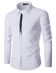 Hot Sale Men's Casual/Daily Simple Spring / Fall ShirtSolid Shirt Collar Long Sleeve White / Black Cotton Medium