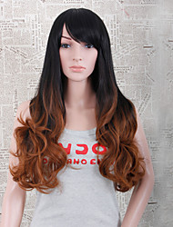 Fashion Long Wavy Style Ombre Black and Yellow Color Synthetic Wigs for Women