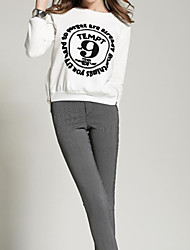 Women's Casual/Daily Simple Fall / Winter Set Pant Suits,Letter Round Neck Long Sleeve White / Black Cotton Thick