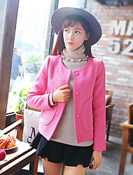 Women's Casual/Daily Simple Coat,Solid Long Sleeve Winter Pink / White Wool / Polyester