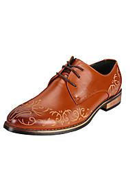 Men's Oxfords Spring Fall Comfort Leather Casual Low Heel Lace-up Others Black Brown Red Other