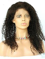 360 Лобовой Afro Kinky Человеческие волосы закрытие Умеренно-коричневый Французское кружево 75g-95g грамм Средние Размер крышки