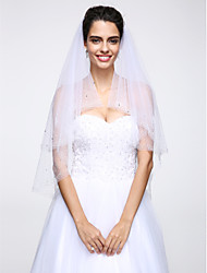 Wedding Veil Two-tier Elbow Veils Beaded Edge Net White